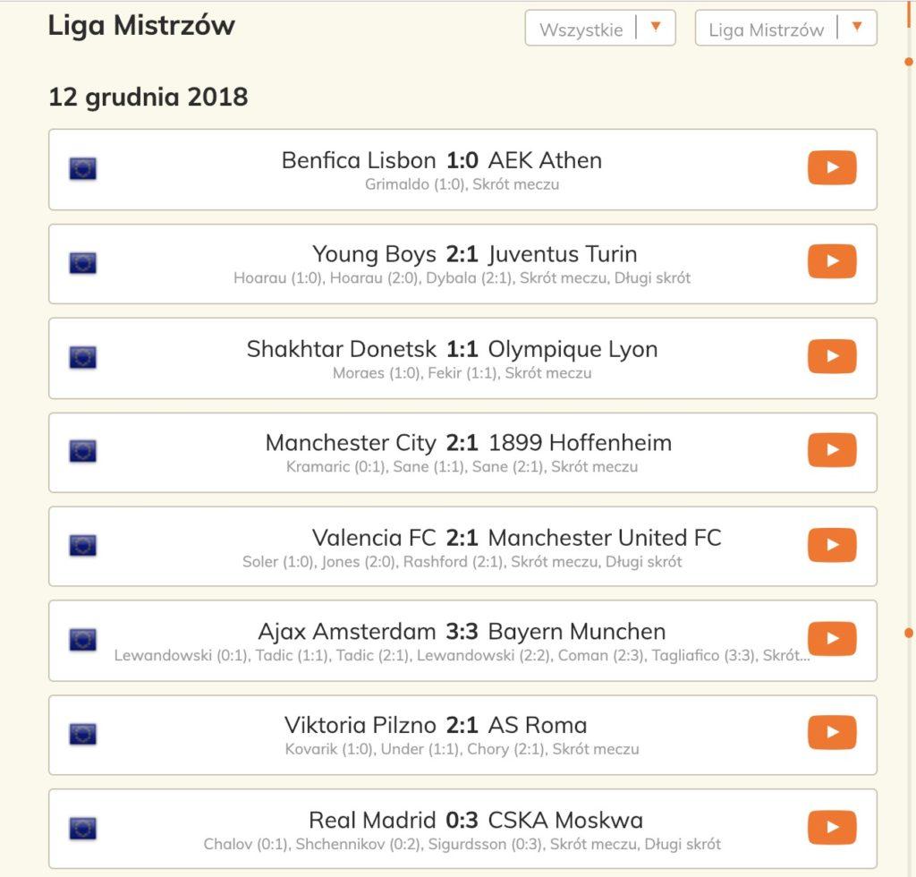 Liga Mistrzów skróty online