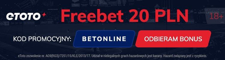 etoto kod bonusowy. Freebet 20 PLN