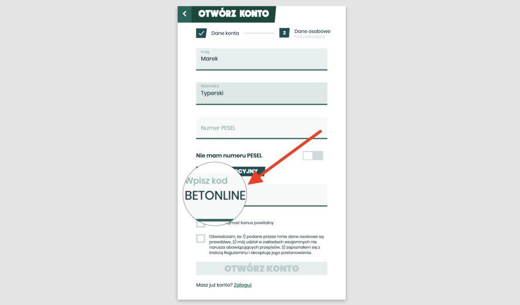 Zakładanie konta Betfan