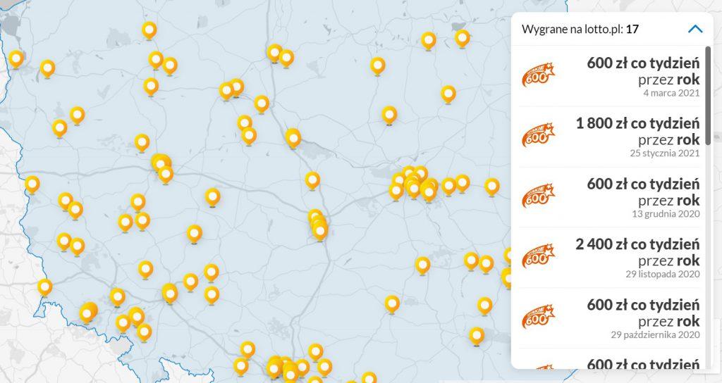 Szybkie 600 mapa wygranych