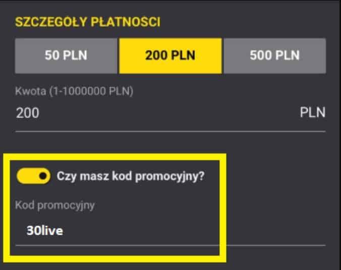 Fortuna kod na bonus 30 PLN
