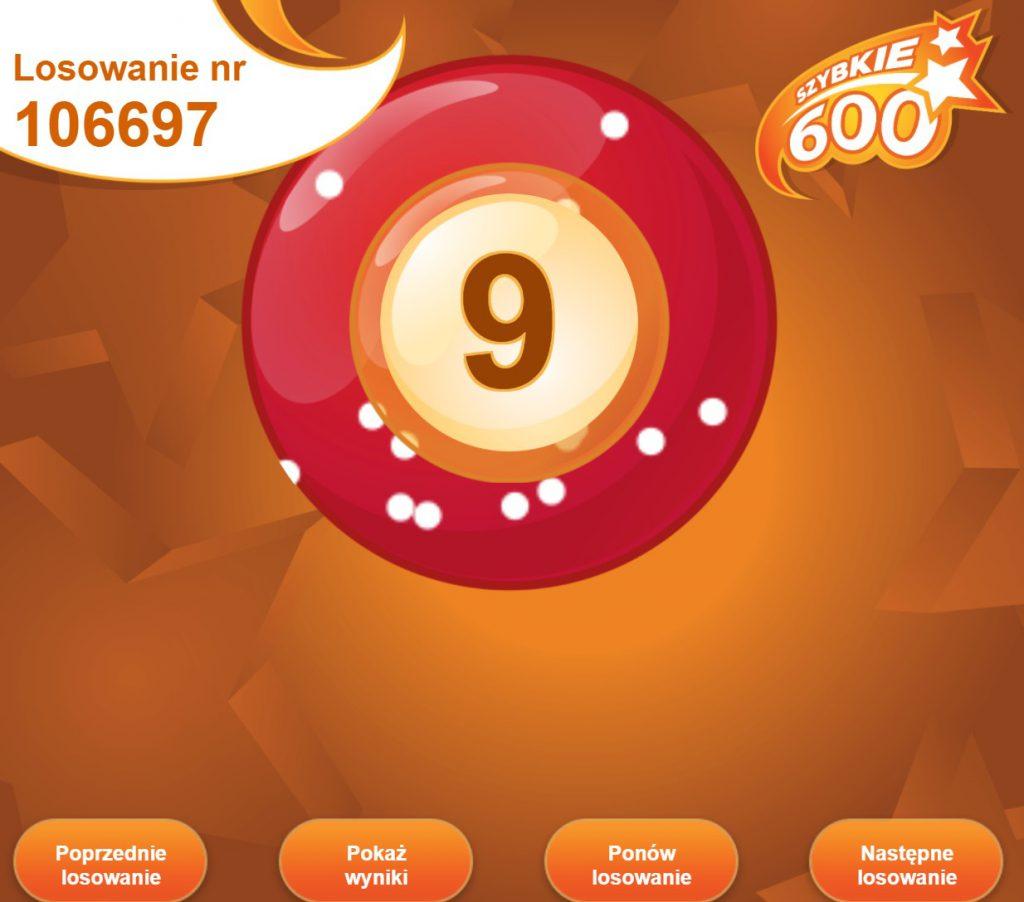 Losowanie w loterii Szybkie 600
