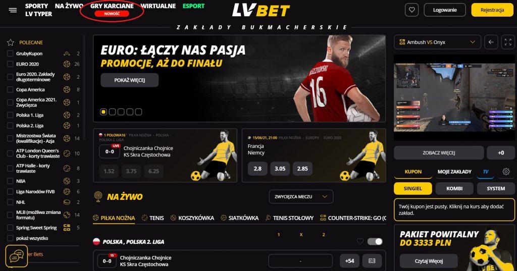 LV BET gry karciane online