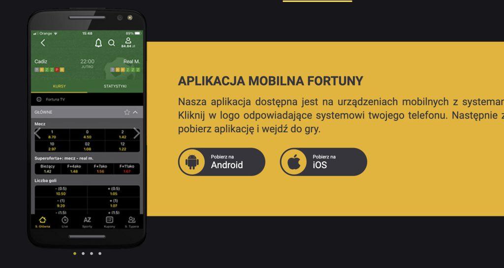 Aplikacja Fortuna - bukmacher na telefon